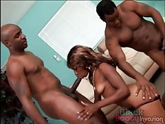 Spit roasted black girl with a slender body tubes