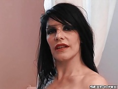 Latex lesbian gets an enema and makes a mess tubes