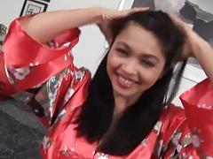 Striptease from satin kimono leads to fingering tubes