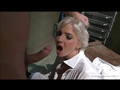 Blonde waitress fucked anally from behind tubes
