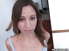 Skinny Amber Rayne sucks dick and balls tubes