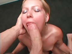 Blonde amateur loves cumshots on her tongue tubes
