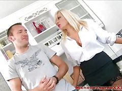 Busty blonde estate agent takes cum in her slutty mouth tubes