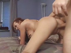 Redhead milf sucks dick and fucks for his facial tubes