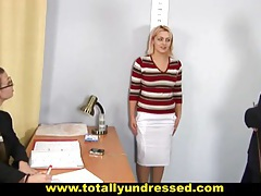 Blonde secretary's nude job interview tubes