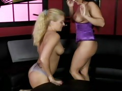 Lesbian in purple corset loves the taste of pussy tubes