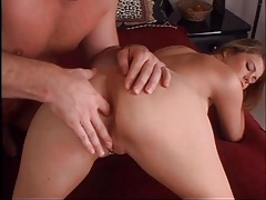 Anally fingered girl sucks on a big cock tubes