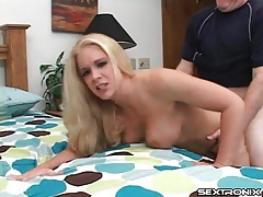 Swinging tits on sexy blonde he fucks from behind tubes