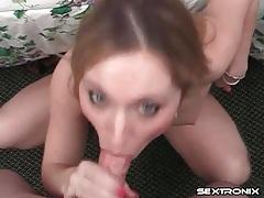 Hot pierced tongue blowjob from a cutie tubes