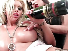 Slippery pornstars with big tits fuck with a toy tubes