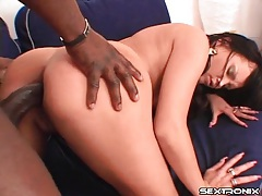 Pushing big black cock into that tight asshole tubes