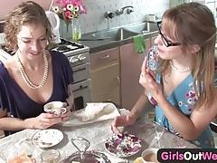 Cute Australian lesbians lick their pink holes tubes