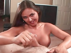 Voluptuous girl with big boobs jacks off a dick tubes