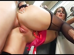 Anal sex in ripped thigh high stockings and gloves tubes