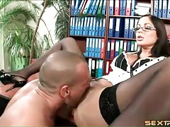 Secretary eaten out in stockings and bra tubes