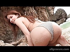 Bikini is beautiful on Japanese girl on a beach tubes