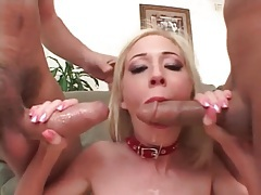 Girl in cute collar fucked in all holes in threesome tubes