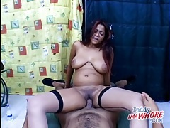 Dick is thick as a Latina sits on it and rides tubes