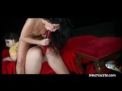 Sensual lesbian ladies using a massive red dildo tubes