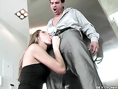 Suck and sex with a slender girl in little black dress tubes