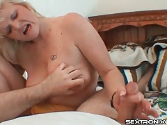 Mature masturbates his cock onto her face tube