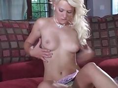 Glamorous blonde beauty masturbates her pussy tubes
