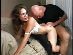Slim flexible girl fucked in her hairy pussy tubes