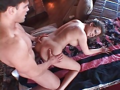 Shaved pussy fucked from behind and taking a facial tubes