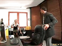 Secretary in satin fools around with her boss tubes
