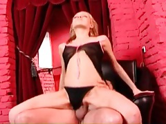 Beauty in black panties rides dick in close up tubes