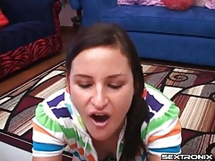 Brown eyed girl gives head and sucks balls tubes