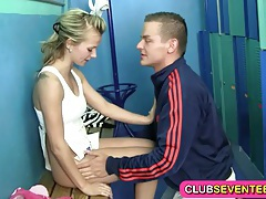 Petite blonde teenie fucked by her trainer tubes