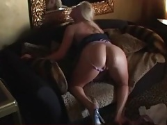 Blonde puts her pussy on display for a poking tubes