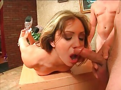 Slut grabs her high heels and gags on dicks tubes