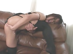 Black lingerie and heels on masturbating brunette tubes