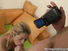 Nasty hot blonde babe wanking her cute moist cunt and sucking hard jizzster tubes