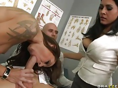 Dirty brunettes laid in threesome sex scene tubes