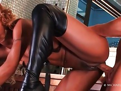 Black chick in black leather boots fucked tubes
