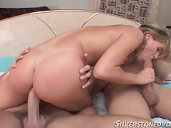 Young blonde with dick in mouth and ass tubes