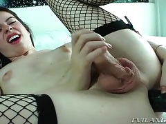 Fishnet stockings look sexy on tranny girl tubes