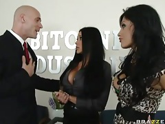 Office threesome with a pair of big tits sluts tubes
