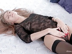 Girl in black lace masturbates for her boyfriend tubes