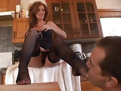 Lustily sucking toes and ripping open her stockings tubes
