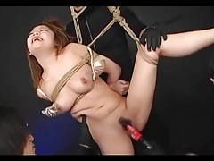 Asian ball gagged and nipple clamped tubes