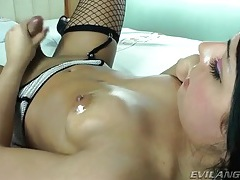 Fishnets on sexy masturbating transsexual slut tubes