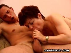 Busty amateur milf sucks and fucks with cumshot tubes