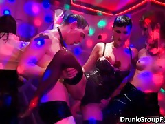 Horny drunk girls are getting hard cock in a group fuck orgy tubes