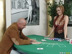 Card dealer katie kox sucks his cock and fucks tubes