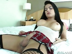 Schoolgirl shemale jerks off her pretty dick tubes