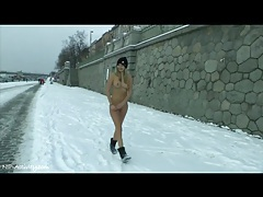 Naked teen on a winter day has hot perky tits tubes